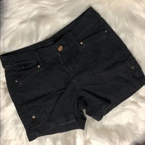 WHBM Black Denim Pocket Shorts Size 00